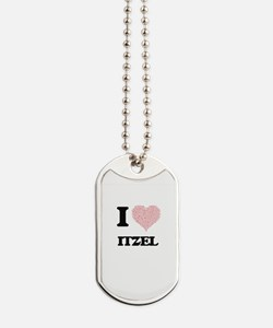 I love Itzel (heart made from words) desi Dog Tags