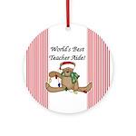 Bear World's Best Teacher Aide Ornament (Round)