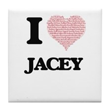 I love Jacey (heart made from words) Tile Coaster