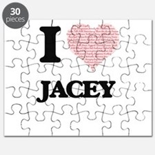 I love Jacey (heart made from words) design Puzzle
