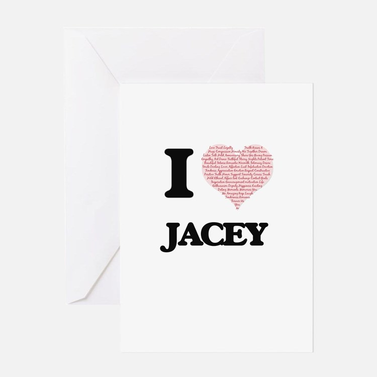 I love Jacey (heart made from words Greeting Cards