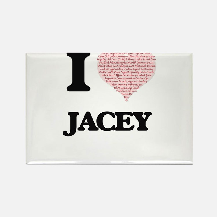 I love Jacey (heart made from words) desig Magnets