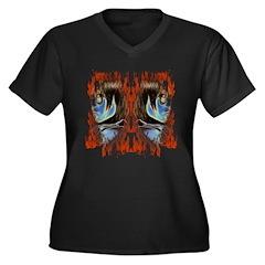 Maori Women's Plus Size V-Neck Dark T-Shirt