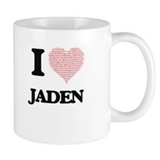 I love Jaden (heart made from words) design Mugs