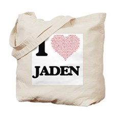 I love Jaden (heart made from words) desi Tote Bag