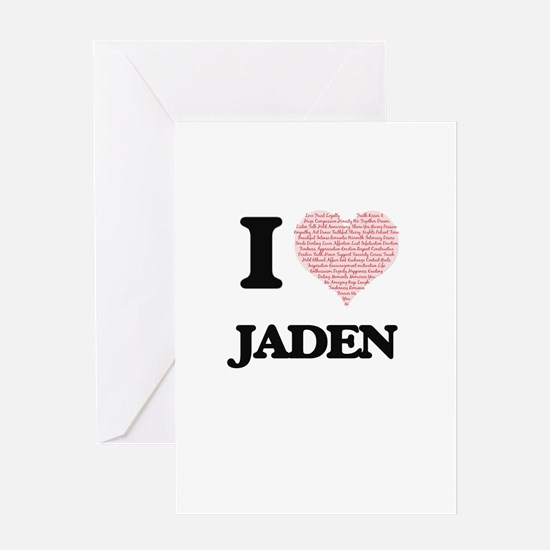 I love Jaden (heart made from words Greeting Cards
