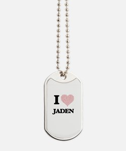 I love Jaden (heart made from words) desi Dog Tags