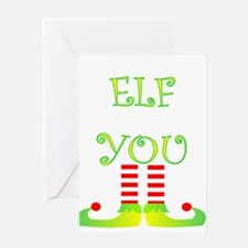 Funny christmas elf legs Greeting Cards