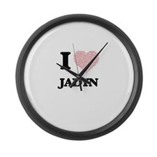 I love Jadyn (heart made from wor Large Wall Clock
