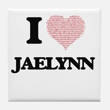 I love Jaelynn (heart made from words Tile Coaster