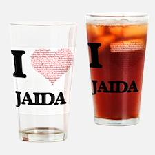 I love Jaida (heart made from words Drinking Glass