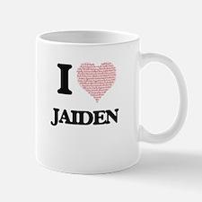 I love Jaiden (heart made from words) design Mugs