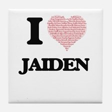 I love Jaiden (heart made from words) Tile Coaster