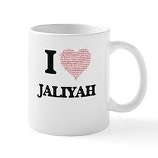 I love Jaliyah (heart made from words) design Mugs