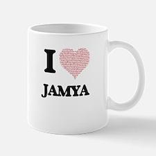 I love Jamya (heart made from words) design Mugs