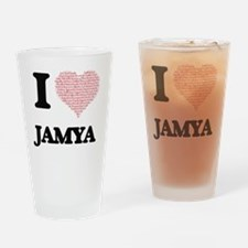 I love Jamya (heart made from words Drinking Glass