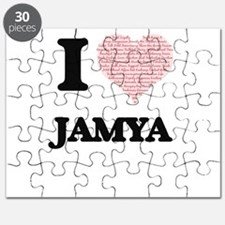I love Jamya (heart made from words) design Puzzle