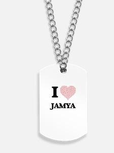 I love Jamya (heart made from words) desi Dog Tags