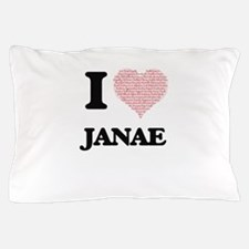 I love Janae (heart made from words) d Pillow Case