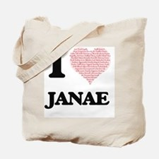 I love Janae (heart made from words) desi Tote Bag