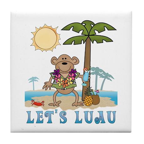 Lets Luau Boy Monkey Tile Coaster