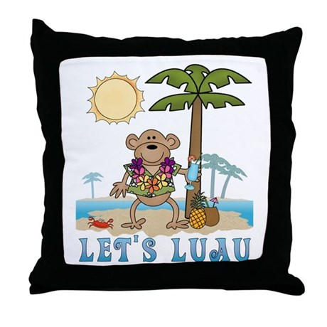 Lets Luau Boy Monkey Throw Pillow