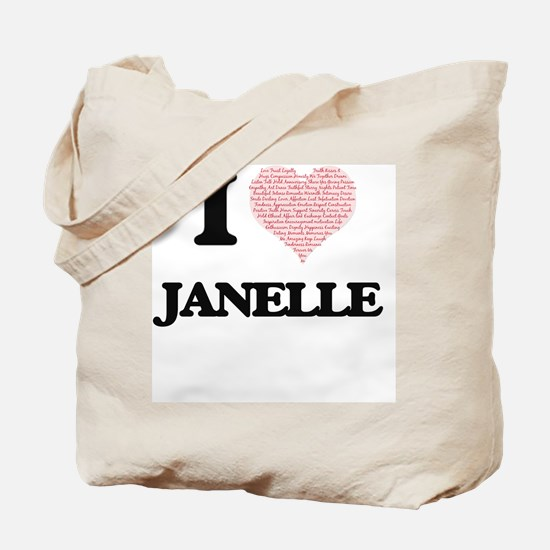 I love Janelle (heart made from words) de Tote Bag