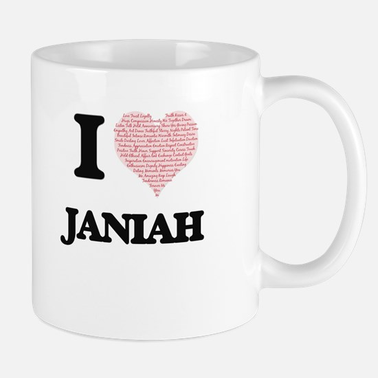 I love Janiah (heart made from words) design Mugs