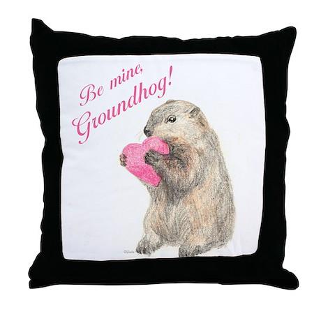 Be Mine, Groundhog Throw Pillow