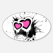 Exploding hearts Oval Decal