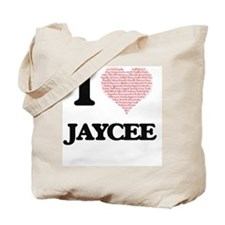 I love Jaycee (heart made from words) des Tote Bag