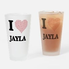 I love Jayla (heart made from words Drinking Glass