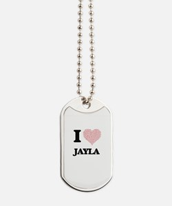 I love Jayla (heart made from words) desi Dog Tags