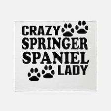 Crazy Springer Spaniel Lady Throw Blanket