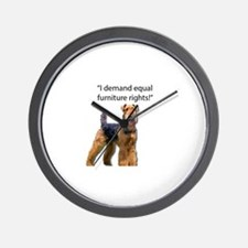 Stubborn Airedale Terrier Protesting hi Wall Clock