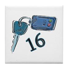 16th Birthday keys Tile Coaster