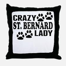 Crazy St. Bernard Lady Throw Pillow