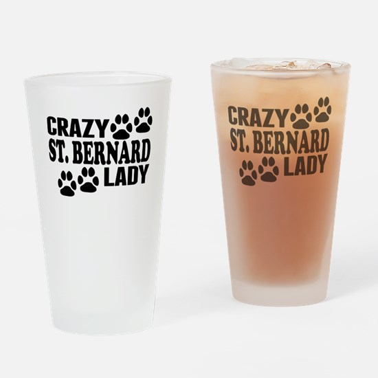 Crazy St. Bernard Lady Drinking Glass