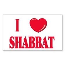 I Love Shabbat Rectangle Decal