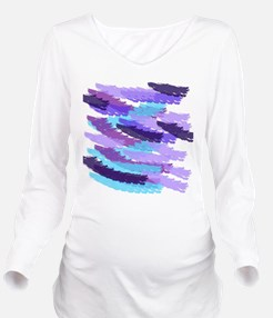 Purple and Blue Brus Long Sleeve Maternity T-Shirt