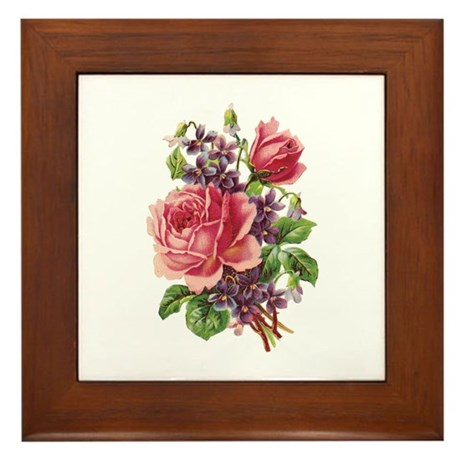 Pink Roses Framed Tile