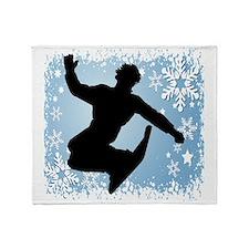 SNOWBOARDING (Blue) Throw Blanket