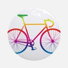 Road Bike - Rainbow Round Ornament