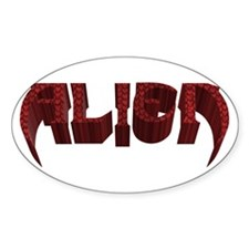 """Alien"" Red Scales Oval Decal"