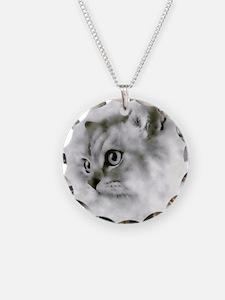 BW Persian Cat Portrait Necklace
