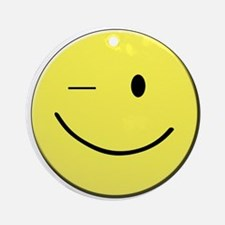 Winking Smiley Face Round Ornament