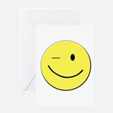 Winking Smiley Face Greeting Cards