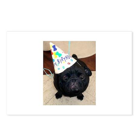 Black Pug Birthday Postcards (Package of 8)