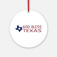 God Bless Texas Round Ornament