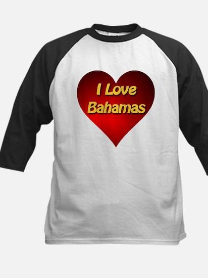 I Love Bahamas Kids Baseball Jersey